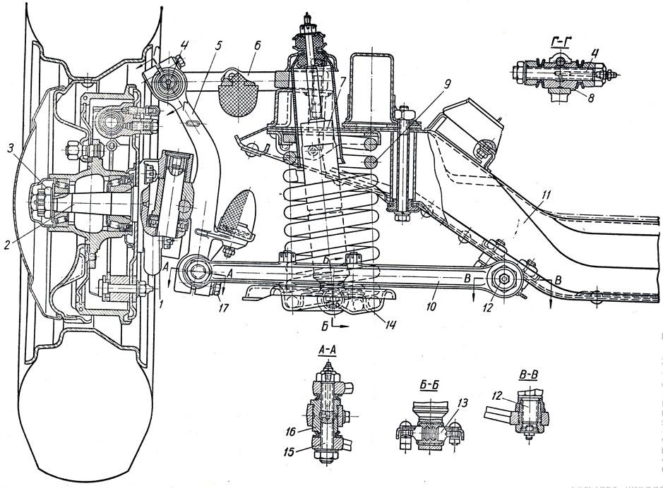 Передняя подвеска ГАЗ-21 III